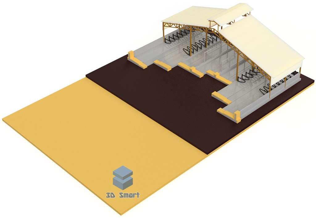 3D визуализация макета коровника